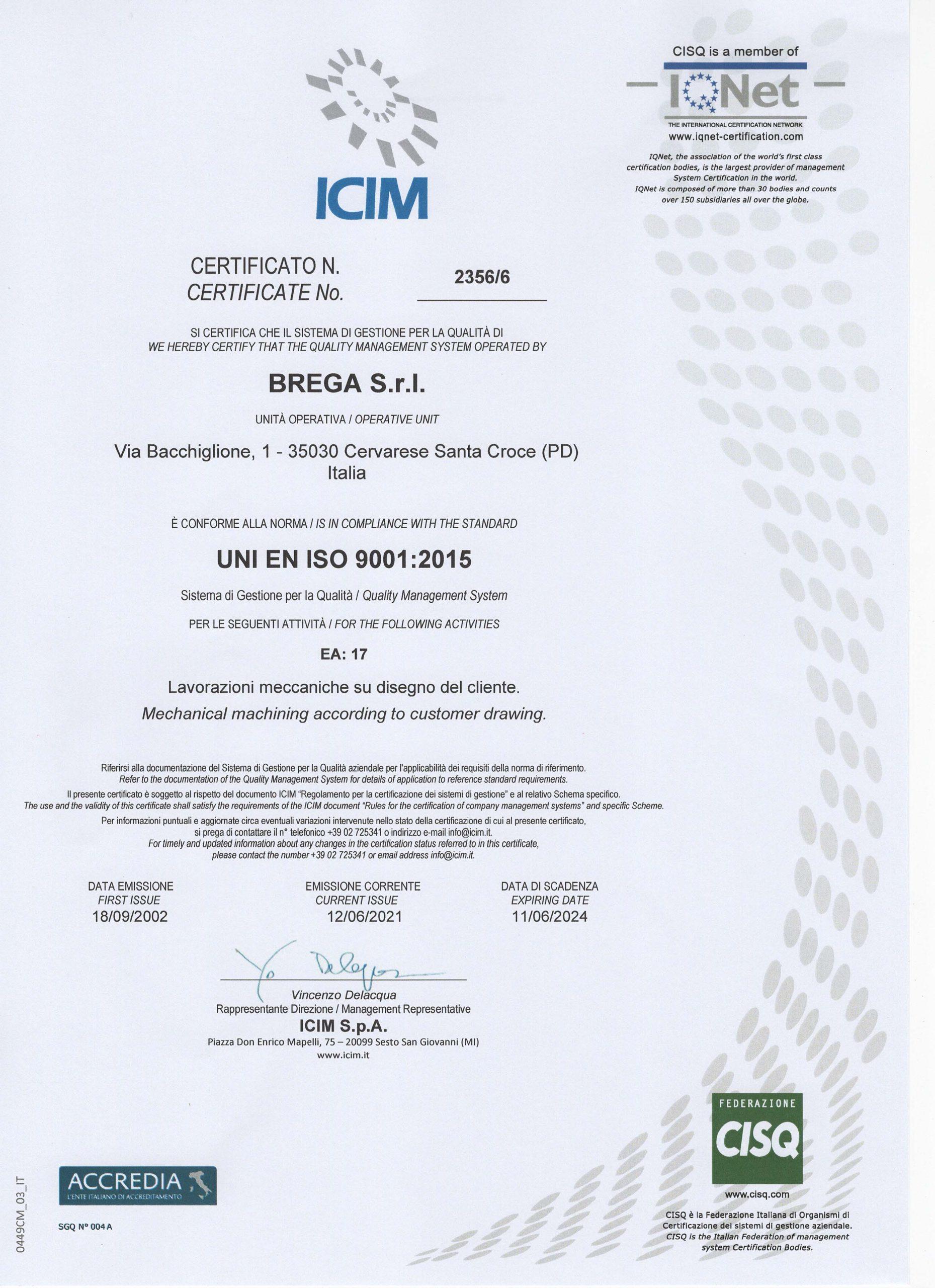 Certificato Qualità ISO 9001:2015