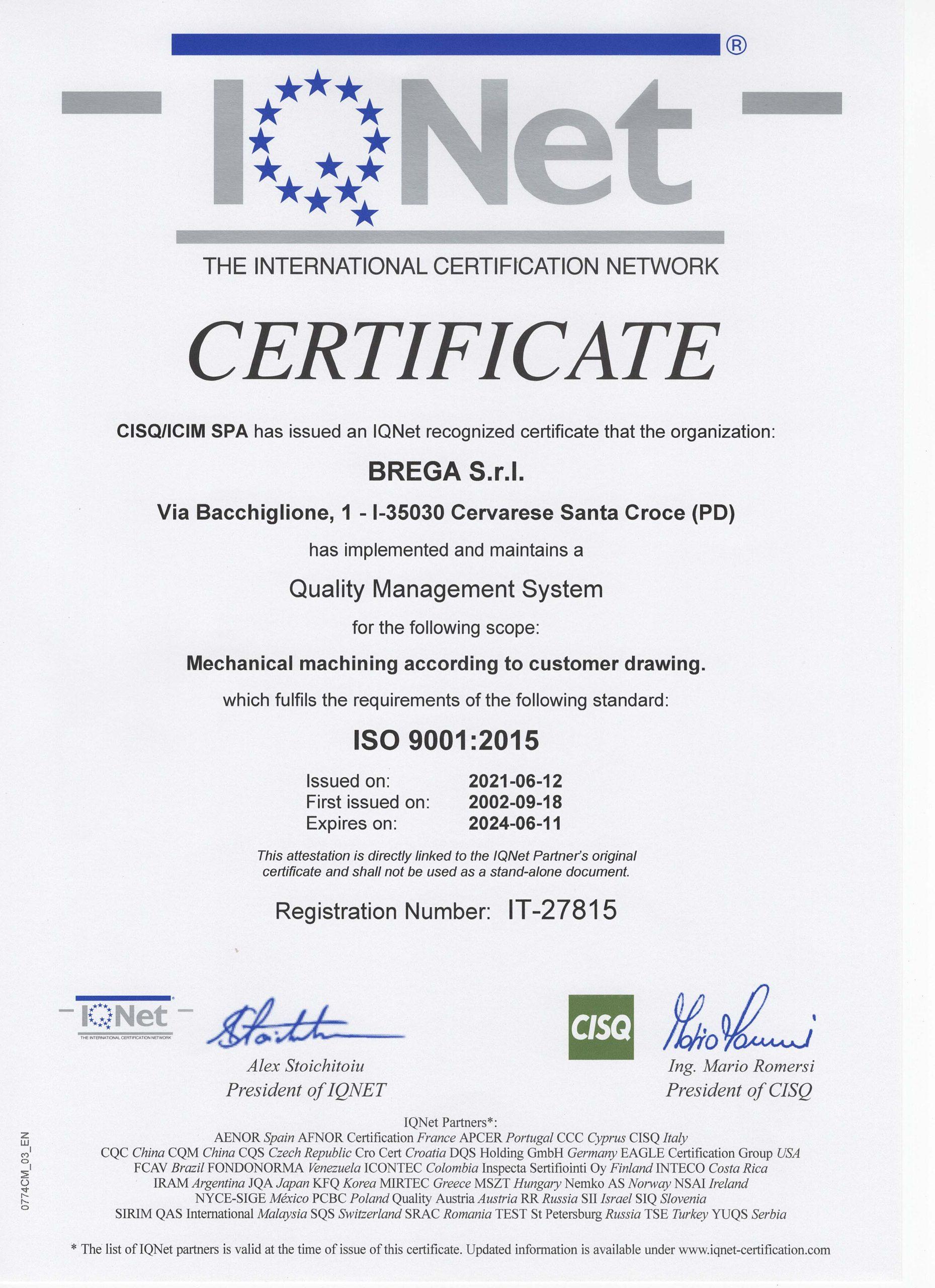 CERTIFICATO IQnet ICIM 2356